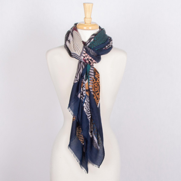 Multi colored animal print scarf. 100% acrylic.