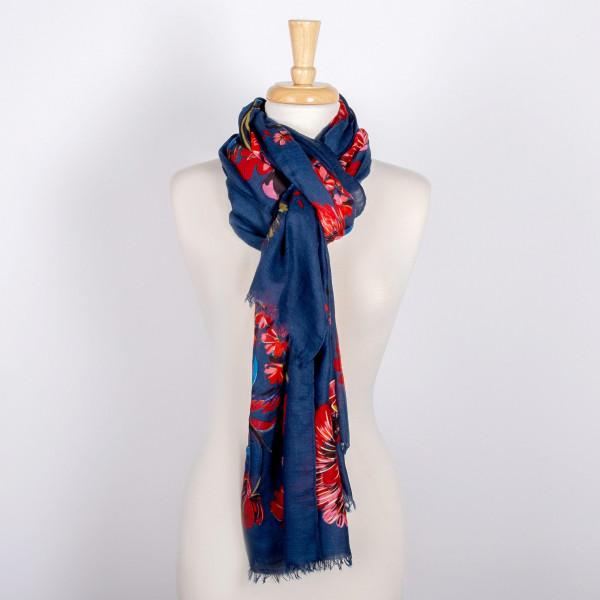 Lightweight floral print scarf. 100% viscose.