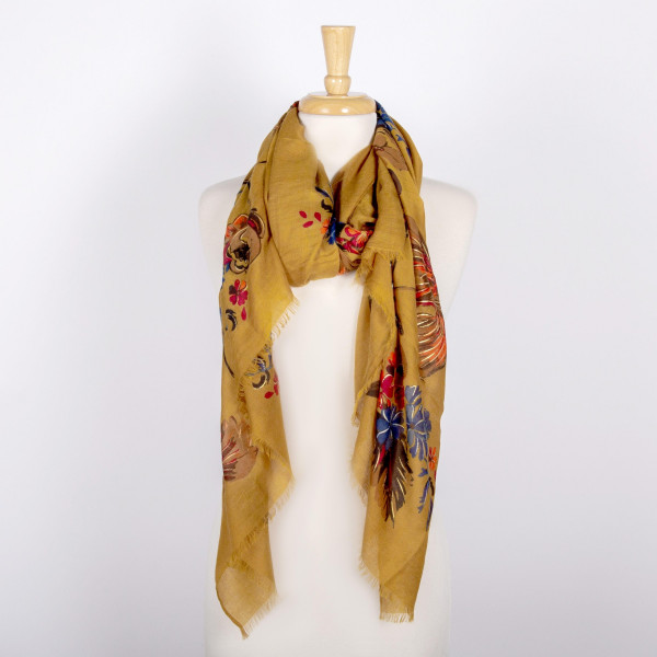 Lightweight floral print scarf. 100% viscose.