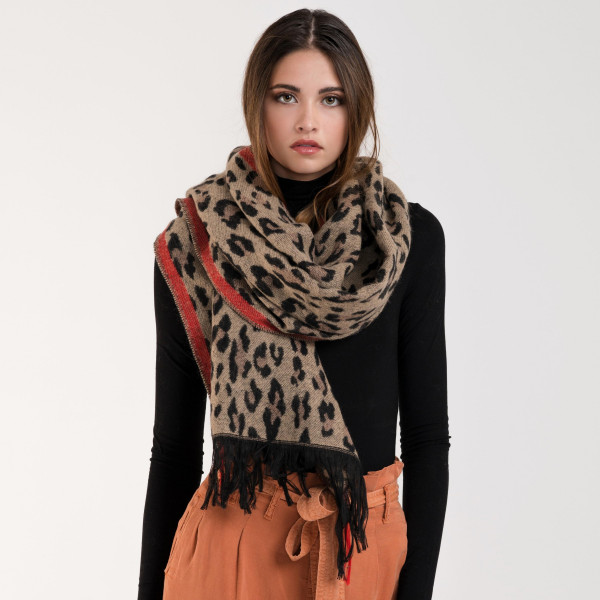 Leopard print scarf with red stripe. 100% acrylic.