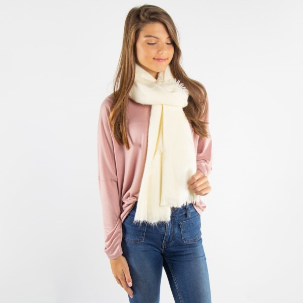 Solid color soft touch scarf. 100% acrylic.