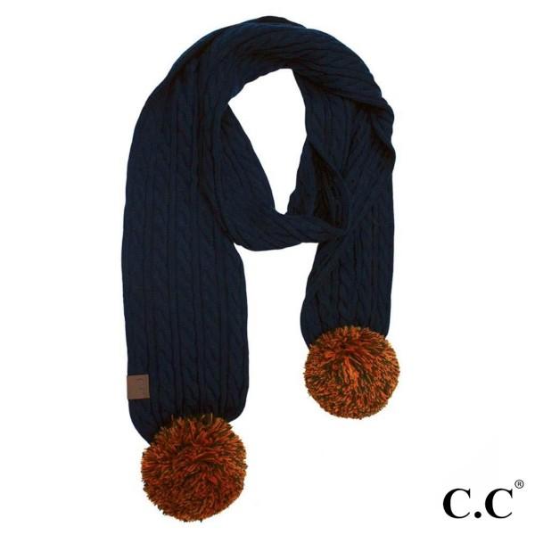"""SK-56: Skinny C.C Scarf with knit pom. 100% acrylic.   W: 12"""" L: 59"""""""