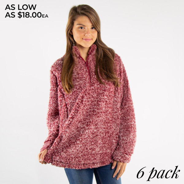 Lined faux sherpa pullover. Quarter zip. Color dye may vary slightly per size. 100% polyester.   Pack Breakdown: 1-S, 2-M, 2-L, and 1-XL (True to size)