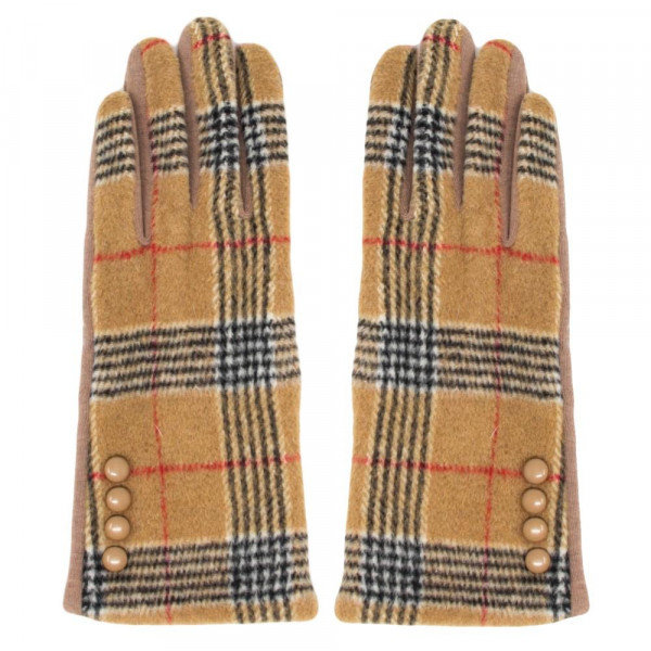 Plaid gloves with button detail. 60% polyester and 30% cotton.