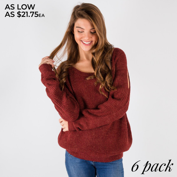 Long sleeve cold shoulder sweater.   Pack breakdown: 2 S/M and 3 L/XL