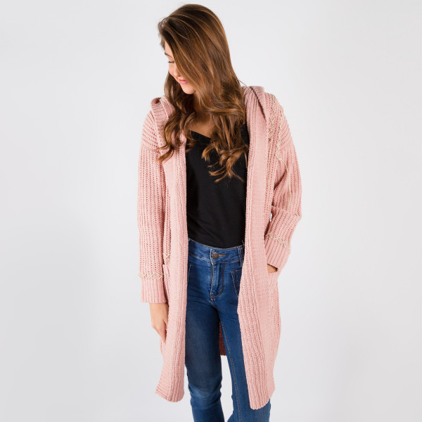Chunky chenille knit cardigan with lace up detail. 100% polyester.   Pack breakdown: 3 S/M and 3 L/XL