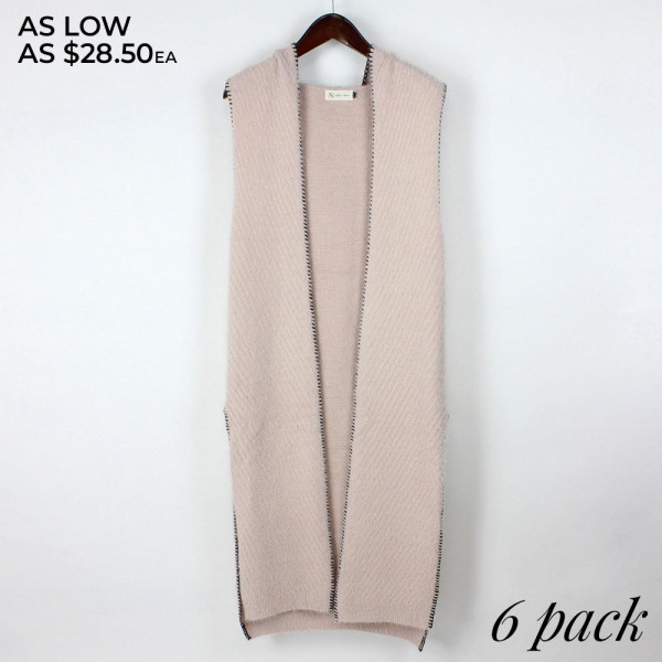 Sleeveless hoodie with contrast embroidered detail and long slit.  Pack breakdown: 3 S/M and 3 L/XL