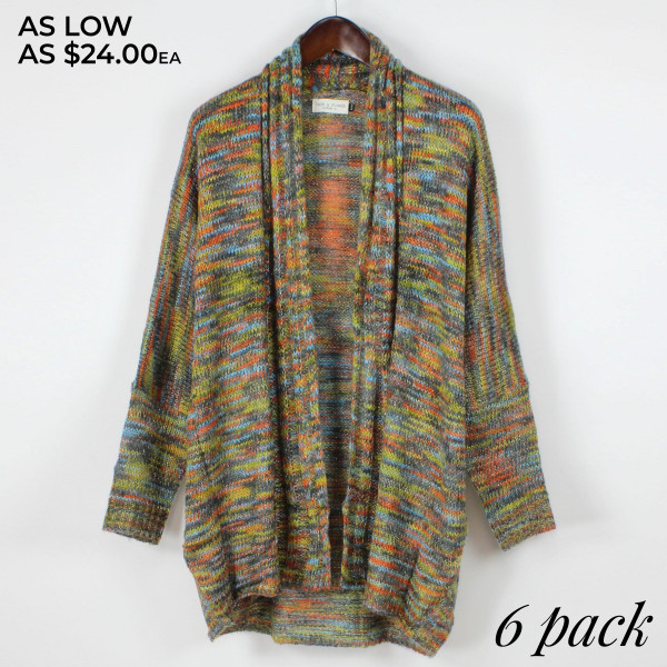 Dolman long sleeve, shawl collar open front cardigan.   Pack breakdown: 3 S/M and 3 L/XL