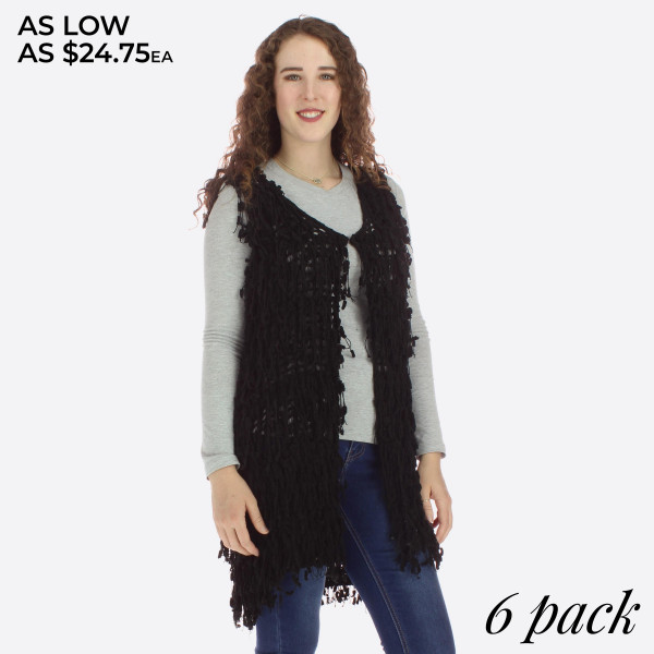 Long line vest with texture detail.   Pack breakdown: 3 S/M and 3 L/XL