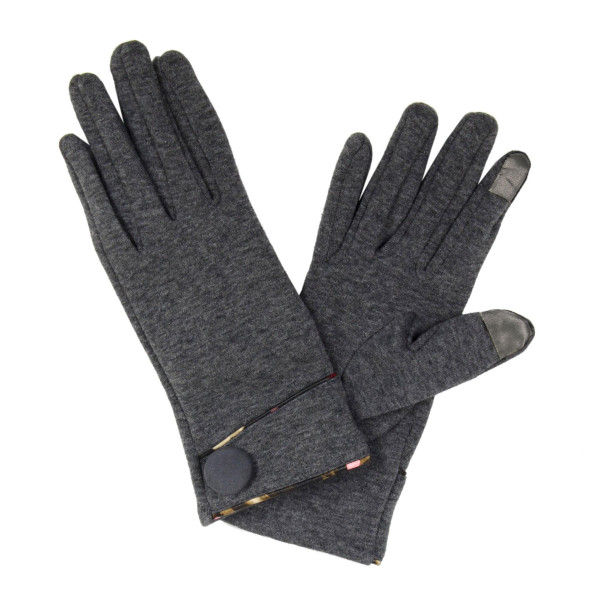 Touch screen gloves with floral trim and button details.   - One size fits most - 100% Acrylic