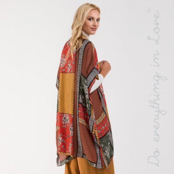 """Mixed pattern kimono. 100% viscose. L: 34.6"""" x W: 34.6"""""""