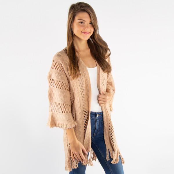 Crochet knit cardigan kimono. 100% acrylic.   One size fits most.