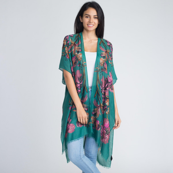 Floral print kimono. 100% viscose. One size fits most.
