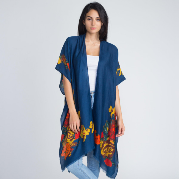 Floral print kimono. 100% viscose. One size fits most.