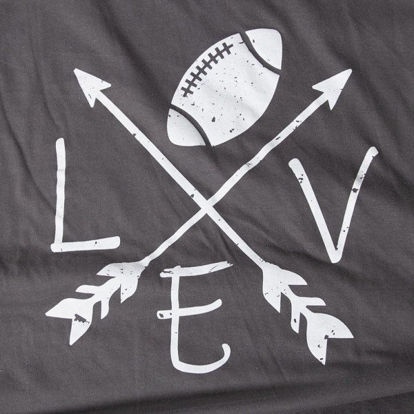 LOVE FOOTBALL - Short Sleeve Boutique Graphic Tee. These t-shirts are sold in a 6 pack. S:1 M:2 L:2 XL:1 35% Cotton 65% Polyester Brand: ANVIL