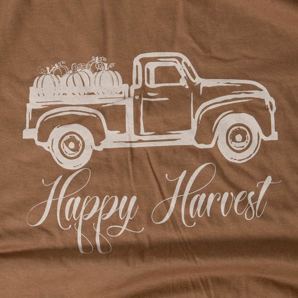 HAPPY HARVEST - Short Sleeve Boutique Graphic Tee. These t-shirts are sold in a 6 pack. S:1 M:2 L:2 XL:1 35% Cotton 65% Polyester Brand: AMERICAN APPAREL
