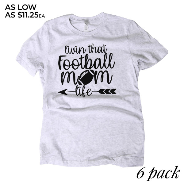 LIVING THAT FOOTBALL MOM LIFE - Short Sleeve Boutique Graphic Tee. These t-shirts are sold in a 6 pack. S:1 M:2 L:2 XL:1 35% Cotton 65% Polyester Brand: CANVAS