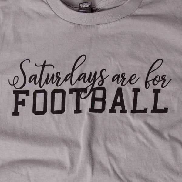 SATURDAYS ARE FOR FOOTBALL - Short Sleeve Boutique Graphic Tee. These t-shirts are sold in a 6 pack. S:1 M:2 L:2 XL:1 35% Cotton 65% Polyester Brand: ANVIL