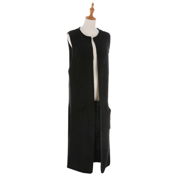 Long cozy sleeveless kinit vest with front pockets.100% acrylic.
