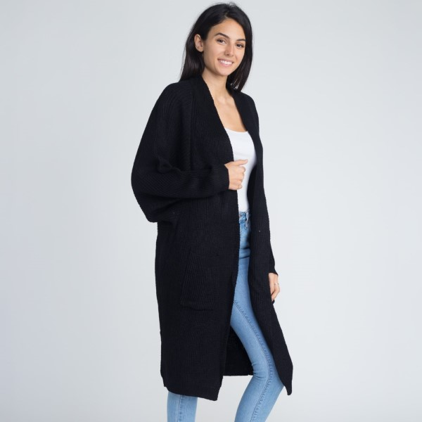 Long line cardigan with slouchy sleeves. 55% acrylic and 45% cotton.