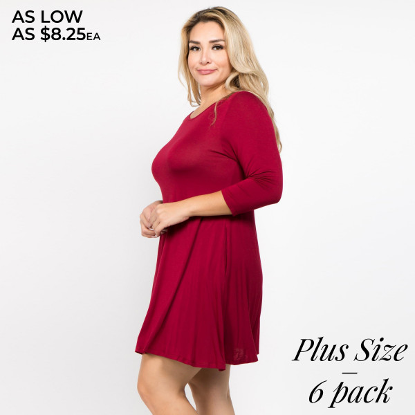 Who runs the world? With the Twirl Power Dress it will always be you! Lightweight jersey knit sweeps across a rounded neckline and falls to fitted three-quarter sleeves. Comfy swing silhouette flares gently to a perfect finish. Hidden side seam pockets.   • Relax Scoop Neckline  • ¾ Fitted Sleeves  • Side Pockets  • Swing Style Bodice  • Solid Color  • Closure Style: Pullover  • Hand Wash Cold/Tumble Dry/Iron Low/Do not Dry Clean  • Import   Content: 95% Rayon, 5% Spandex   Pack Breakdown: 6pcs/pack. 3-XL, 2-2xl, 1/3XL