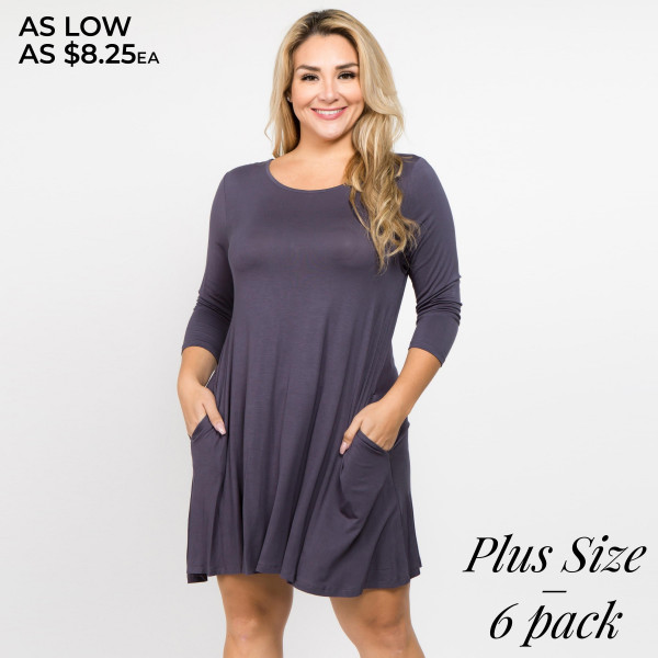 Who runs the world? With the Twirl Power Dress it will always be you! Lightweight jersey knit sweeps across a rounded neckline and falls to fitted three-quarter sleeves. Comfy swing silhouette flares gently to a perfect finish. Hidden side seam pockets.   - Relax scoop neckline  - ¾ fitted sleeves  - Side pockets  - Swing style bodice  - Solid color  - Pullover style  - Hand wash cold/ Tumble dry/ Iron low/ Do not dry clean  - Imported  Pack Breakdown: 6pcs / pack  Sizes: 3-XL / 2-1X / 1-2X  Composition: 95% Rayon, 5% Spandex