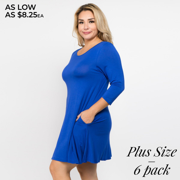 Who runs the world? With the Twirl Power Dress it will always be you! Lightweight jersey knit sweeps across a rounded neckline and falls to fitted three-quarter sleeves. Comfy swing silhouette flares gently to a perfect finish. Hidden side seam pockets.   • Relax Scoop Neckline  • ¾ Fitted Sleeves  • Side Pockets  • Swing Style Bodice  • Solid Color  • Closure Style: Pullover  • Hand Wash Cold/Tumble Dry/Iron Low/Do not Dry Clean  • Import   Content: 95% Rayon, 5% Spandex   Pack Breakdown: 6pcs/pack. 2/1XL: 2/2XL: 2/3XL