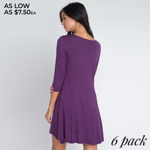 With infinite styling possibilities, our Swing Dress will be a welcomed addition to your wardrobe! Super soft jersey knit fabric shapes a relaxed scoop neckline, 3/4 fitted sleeves and front pleats while a swing style bodice flares below for a darling fin   • Relax Scoop Neckline  • ¾ Fitted Sleeves  • Front Pleats  • Swing Style Bodice  • Solid Color  • Closure Style: Pullover  • Hand Wash Cold/Tumble Dry/Iron Low/Do not Dry Clean  • Import   Content: 95% Rayon, 5% Spandex   Pack Breakdown: 6pcs/pack. 2S: 2M: 2L