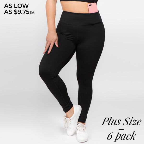 Feeling good and looking good on and off the mat matter, which is why these Active Wear Leggings are a favorite. Features Women's ankle-length active leggings. 4-way-stretch fabric for a move-with-you-feel adds support and comfort. Moisture-wicking fabric to keep you cool as things heat up. Elasticized tummy-flattening waistband with interior hidden pocket and flat-lock seams help prevent chafing.   • 4-way-stretch fabric for a move-with-you feel  • Tummy-flattening waistband with interior hidden pocket  • Flat-locked seaming for extra comfort  • Ankle-length   Composition: 75% Nylon, 25% Spandex   Pack Breakdown: 6pcs/pack. 2XL: 2XXL: 2XXXL