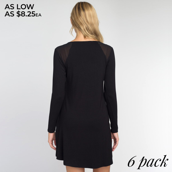 This chic mesh shoulder dress is the perfect going out piece. Featuring two side pockets for loose items and a modern silhouette that ends right above your knees.   • Long sleeves  • Shoulder mesh panels  • Two side seam pockets  • Relaxed, knee length hem  • Stretchy and soft  • Imported   Care: Hand Wash Cold, Do Not Bleach, Tumble Dry, Low Iron   Content: 95% Rayon, 5% Spandex   Pack Breakdown: 6pcs/pack. 2S: 2M: 2L