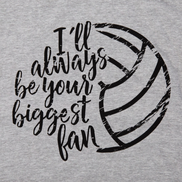I'LL ALWAYS BE YOUR BIGGEST FAN - Short Sleeve Boutique Graphic Tee. These t-shirts are sold in a 6 pack. S:1 M:2 L:2 XL:1 35% Cotton 65% Polyester Brand: ANVIL