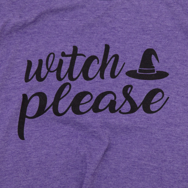 WITCH PLEASE - Short Sleeve Boutique Graphic Tee. These t-shirts are sold in a 6 pack. S:1 M:2 L:2 XL:1 35% Cotton 65% Polyester Brand: ANVIL