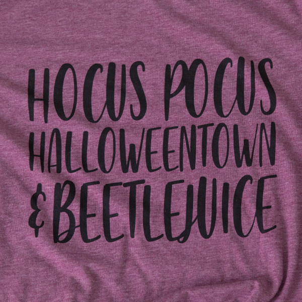 HOCUS POCUS HALLOWEENTOWN AND BEETLE JUICE - Short Sleeve Boutique Graphic Tee. These t-shirts are sold in a 6 pack. S:1 M:2 L:2 XL:1 35% Cotton 65% Polyester Brand: CANVAS