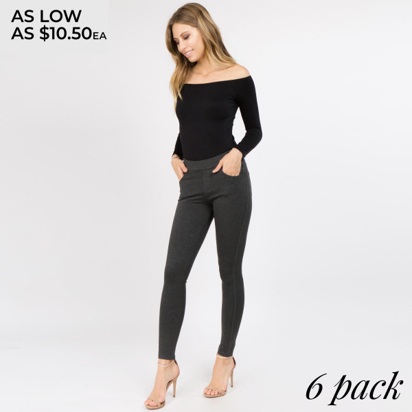Dress to impress in these ponte knit slim pants. With a skinny leg design and easy pull-on style, they're the picture of work-to-weekend chic.   • Elastic at Waist  • Functional Front & Back Pockets  • Skinny Fit  • Pull-Up Style  • Mid Rise  • Care: Machine Wash Cold, Do not Bleach, Tumble Dry Low, Iron Low  • Imported   Composition: 95% Polyester, 5% Spandex   Pack Breakdown: 6pcs/pack. 2S: 2M: 2L