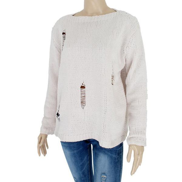 Distressed chenille sweater. 55% acrylic and 45% cotton.   One size fits most.