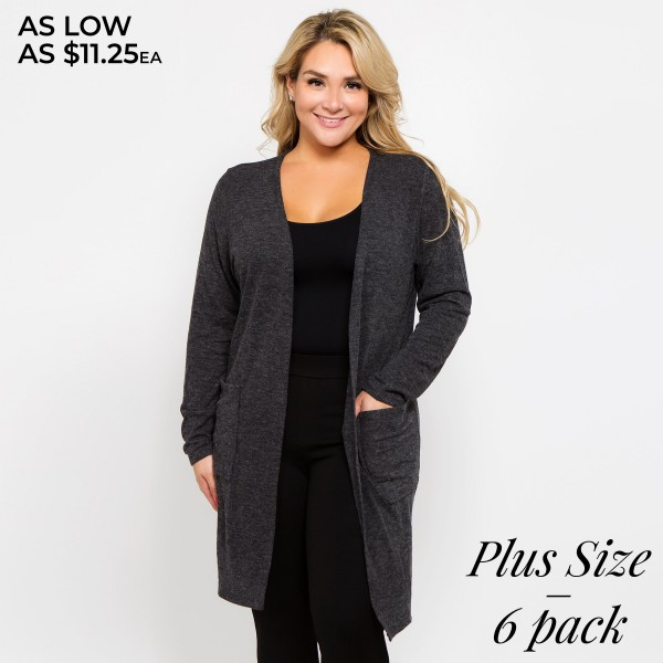 Add a cozy layer to any outfit with this long sleeve cardigan that makes the perfect finishing touch as you head out the door.   - Long sleeves; open front  - Two Open Side Pockets, Keeps Loose Items At Hand  - Longline hem  - Soft and stretchy knit fabric  - Breathable design  - Imported  Composition: 80% Polyester, 16% Cotton, 4% Spandex   Pack Breakdown: 6pcs/pack. 2.XL: 2.XXL: 2.XXXL