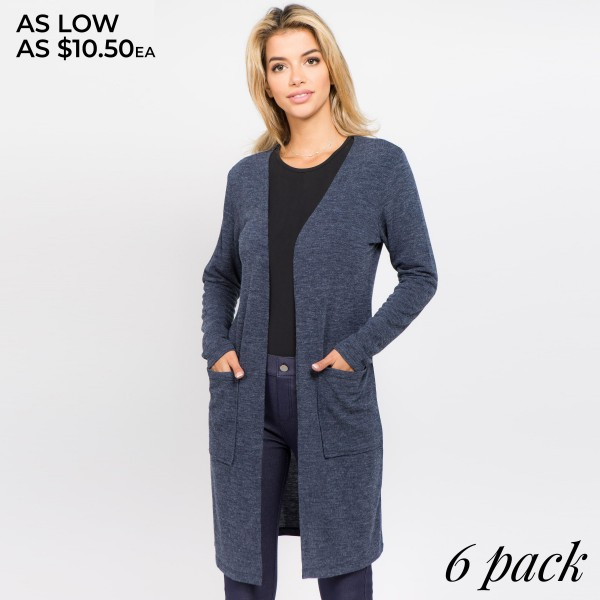 Add a cozy layer to any outfit with this long sleeve cardigan that makes the perfect finishing touch as you head out the door.  - Long sleeves; open front  - Two Open Side Pockets, Keeps Loose Items At Hand  - Longline hem  - Soft and stretchy knit fabric  - Breathable design  - Imported   Composition: 80% Polyester, 16% Cotton, 4% Spandex   Pack Breakdown: 6pcs/pack. 2S: 2M: 2L