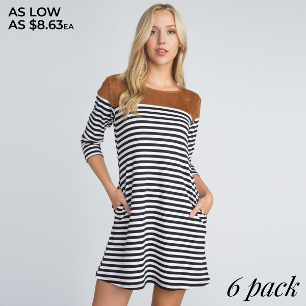 An ultra chic and autumn-ready, this faux suede shoulder dress is sure to be a darling staple in your closet!   - Long sleeves  - Faux suede shoulder front and back - Striped print  - Two open side pockets  - Fit and flare silhouette  - Knee length hem  - Stretchy  - Soft  - Imported   Content: 95% Rayon, 5% Spandex   Pack Breakdown: 6pcs/pack. 2S: 2M: 2L