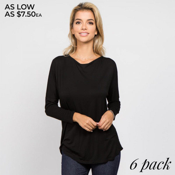 Soft and feminine, with a side of sexy…this long sleeve top bares your back in an open t-strap surplice design- perfect for layering with lacey bralettes!   • Long sleeves, round neckline  • Stretchy and soft fabric  • Open surplice back with strap detail  • Loose fit  • Lightweight  • Imported   Content: 95% Rayon, 5% Spandex
