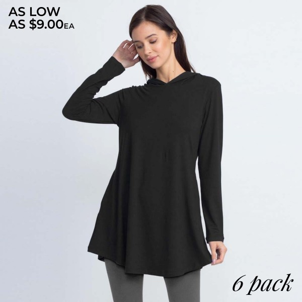 Slip on this hoodie tunic top to keep cozy on those chilly days!   - Long sleeves, crew neck with hoodie on back  - Two functional side pockets  - Long scoop hem  - Soft and stretchy knit fabric  - Imported    - Pack Breakdown: 6pcs / pack.   - Sizes: 2S / 2M / 2L  - Composition: 95% Polyester, 5% Spandex