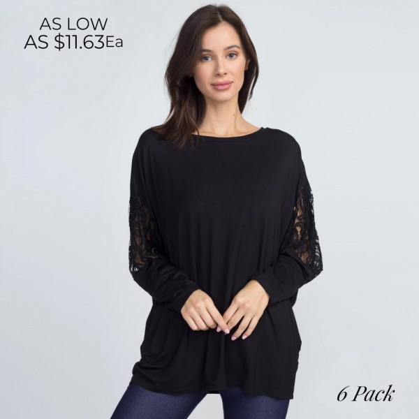 Get in touch with your romantic side in this pretty lace dolman sleeve top with an oversized fit, perfect for wearing with skinny pants and heels for date night!   • Dolman sleeves with lace details  • Banded crew neck  • Soft, stretchy knit fabric  • Oversized silhouette  • Lightweight  • Imported   Content:   Pack Breakdown: 6pcs/pack. 2S: 2M: 2L
