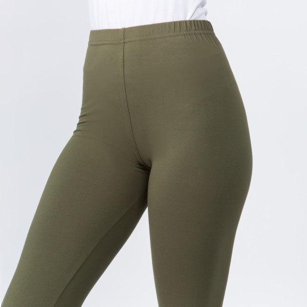 "These plus size New Mix Brand peach skin leggings are seamless, chic, and a must-have for every wardrobe. These lightweight, full-length leggings have a 1"" waistband. They are versatile, perfect for layering, and available in many colors. 92% Polyester 8% Spandex. One size, fits US women's 16-20."