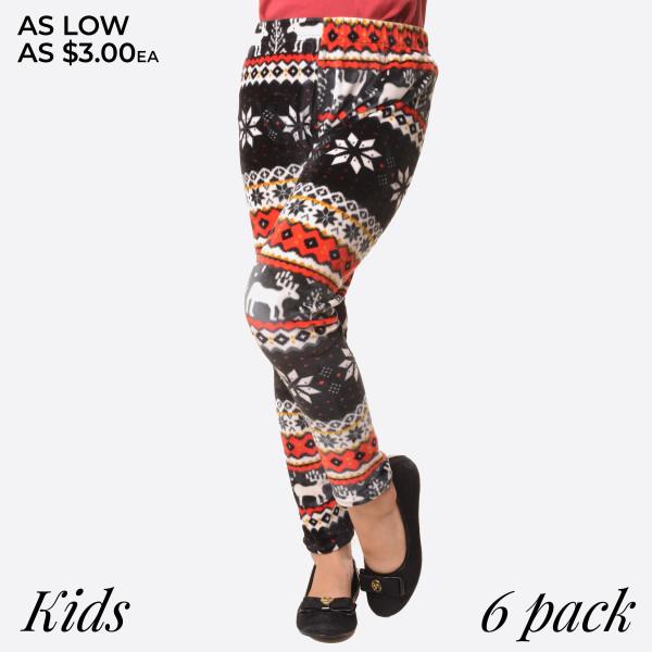 KIDS- Super soft stretch velour reindeer print leggings for kids.  Small: 3/4 Medium: 5/6 Large: 7/8  Composition: 95% Polyester/ 5% Spandex   Pack Breakdown: 6pcs/pack. 2S: 2M: 2L