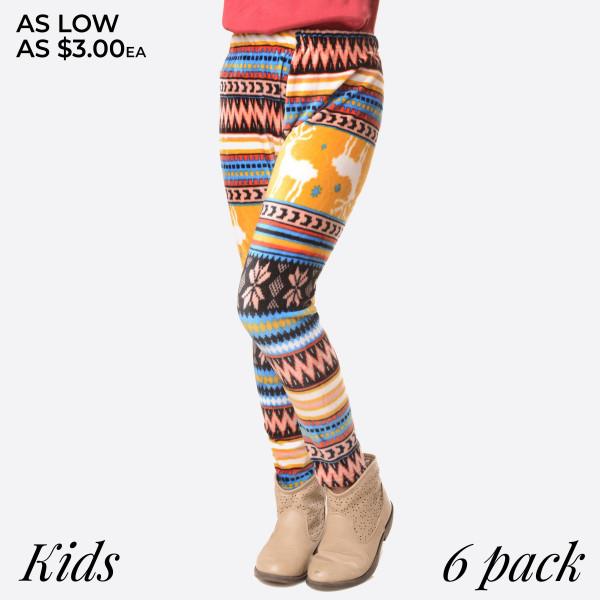 KIDS- Super soft stretch velour reindeer  printed leggings for kids.  Small: 3/4 Medium: 5/6 Large: 7/8  Composition: 95% Polyester/ 5% Spandex   Pack Breakdown: 6pcs/pack. 2S: 2M: 2L