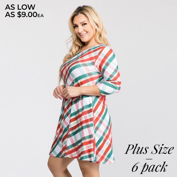 Let the Christmas spirit ring wrapped up and looking like a present under the tree, this swing dress features a green/red plaid print and knee length hem.   • 3/4 length sleeves, round neck  • Two open side pockets  • Fit and flare swing silhouette  • Knee length hem  • Soft and stretchy  • Imported   Content: 90% Polyester, 10% Spandex   Pack Breakdown: 6pcs/pack. 3XL: 2XXL: 1XXXL