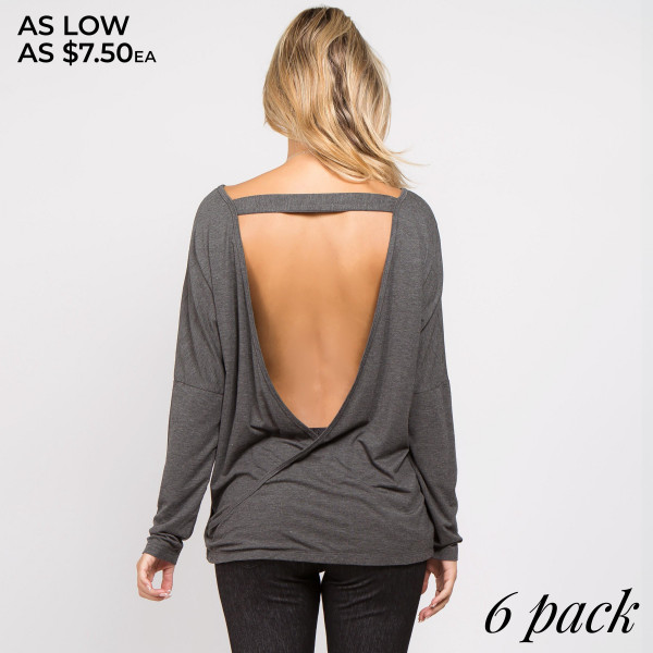 Soft and feminine, with a side of sexy…this long sleeve top bares your back in an open t-strap surplice design- perfect for layering with lacey bralettes!   • Long sleeves, round neckline  • Stretchy and soft fabric  • Open surplice back with strap detail  • Loose fit  • Lightweight  • Imported   Content: 95% Rayon, 5% Spandex   Pack Breakdown: 6pcs/pack. 2S: 2M: 2L