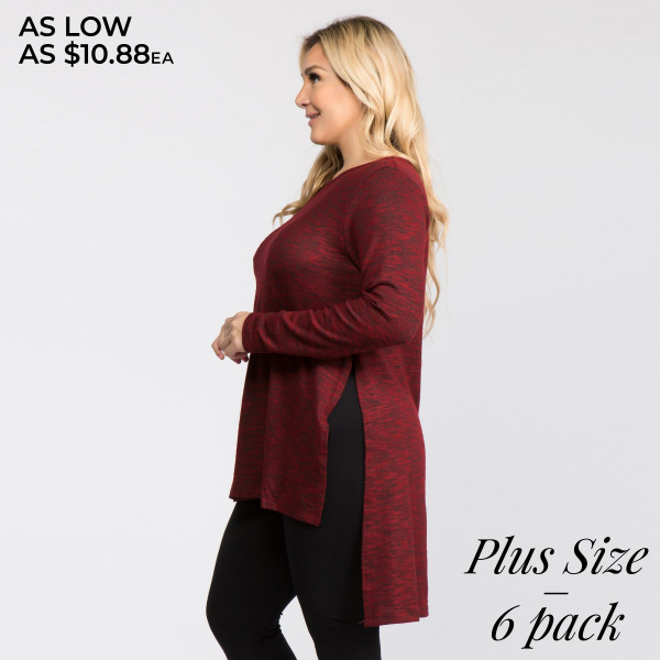 This is the perfect tunic top for throwing on to or from yoga class. It features a cozy, oversized silhouette and a space-dye knit pattern for a sporty look.   • Comfortable long sleeves, crewneck  • Space-dye knit pattern  • Side slits on hi-low hem  • Oversized fit  • Stretchy, soft knit fabric  • Lightweight  • Imported   Composition: 50% Cotton, 46% Polyester, 4% Spandex   Pack Breakdown: 6pcs/pack. 3XL: 2XXL: 1XXXL