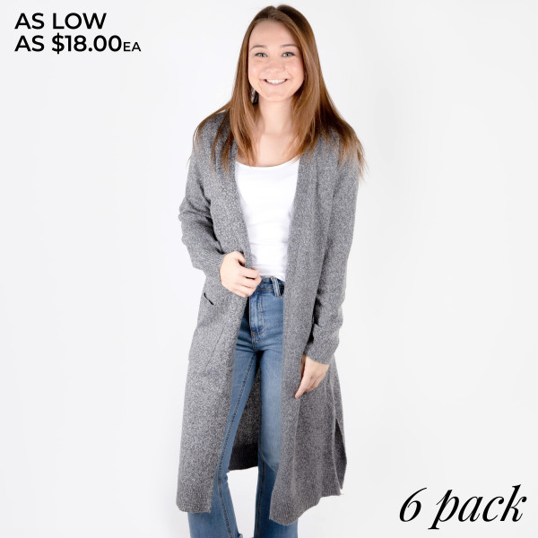 While cozied up in this very soft knit cardigan, a smile settles into your expression as you tuck your hands into its toasty front pockets. Comes in a six pack.  2S 2M 2L 100% Polyester.