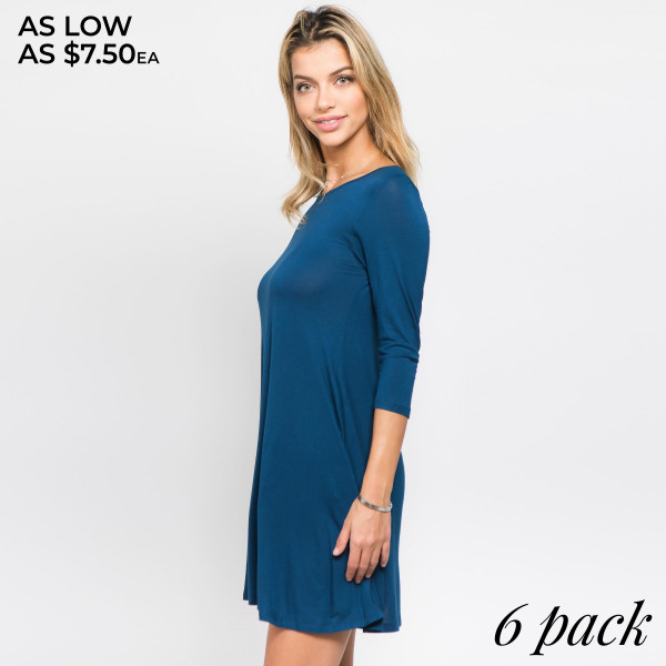 Lightweight jersey knit dress sweeps across a rounded neckline and falls to fitted three-quarter sleeves. Comfy swing silhouette flares gently to a perfect finish. Hidden side seam pockets.   • Relax Scoop Neckline  • ¾ Fitted Sleeves  • Side Pockets  • Swing Style Bodice  • Solid Color  • Closure Style: Pullover  • Hand Wash Cold/Tumble Dry/Iron Low/Do not Dry Clean  • Import     - Pack Breakdown: 6pcs / pack  - Sizes: 2S / 2M / 2L   - Composition: 95% Rayon, 5% Spandex
