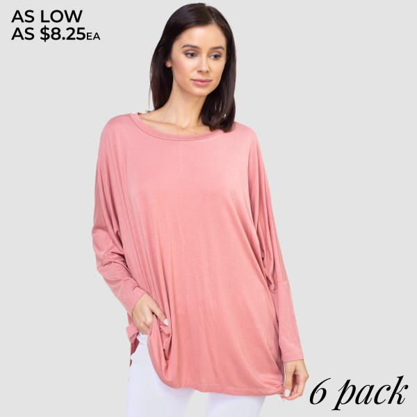 Looking for something cute and comfy? This top will definitely be your first choice. Stretchy, lightweight knit top featured in an oversized silhouette perfect for layering with leggings and jeans.   • Dolman sleeves  • Round neck  • Side slit accents  • Oversized silhouette  • Soft, stretchy and lightweight fabric  • Imported   Composition:   Pack Breakdown: 6pcs/pack. 2S: 2M: 2L